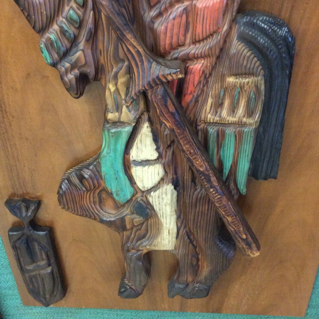 Orange Witco Don Quixote Knight Wood Carved Wall Art For Sale - Image 8 of 11
