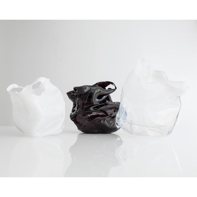 Contemporary Unique crumpled sculptural vessel For Sale - Image 3 of 4