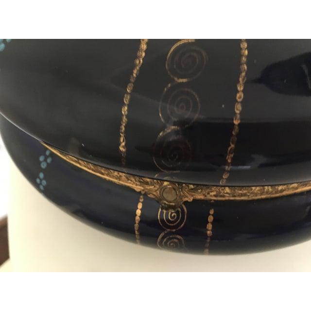 Metal Antique Cobalt Blue French Porcelain Dresser Box For Sale - Image 7 of 12