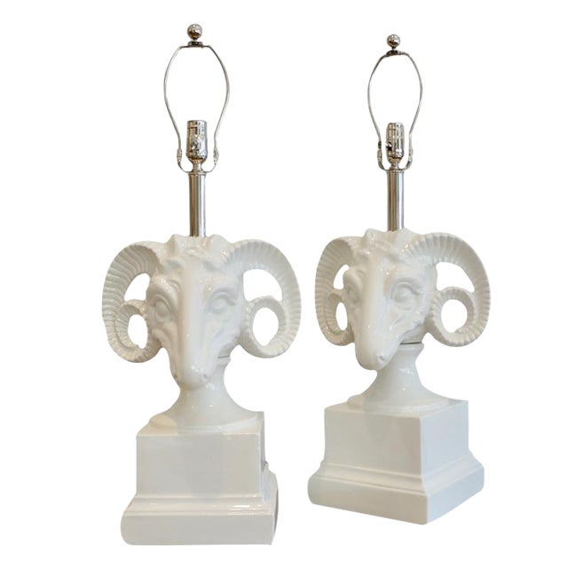 1960s Ceramic Rams Head Table Lamps - a Pair For Sale