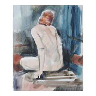 Mid-Century Figurative Watercolor Painting