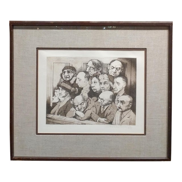 Charles Bragg- Sequestered Jury - Original Hand Signed Etching For Sale