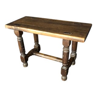 Rustic French 19th Century Oak Bench For Sale