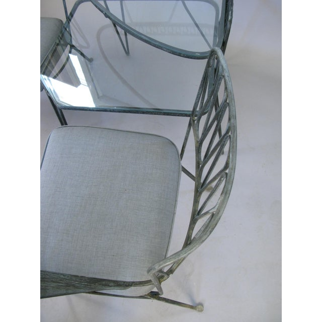 Metal Pair of Italian 1950s Lounge Chairs and Table by Salterini For Sale - Image 7 of 9
