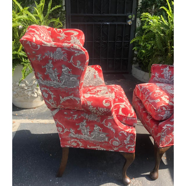 Petit Antique Queen Anne Wingback Arm Chairs with Red Romantic Velvet - a Pair For Sale - Image 4 of 5