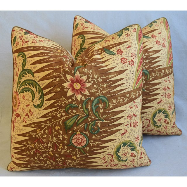 """Cotton French Pierre Frey La Riviere Feather/Down Pillows 21"""" Square - Pair For Sale - Image 7 of 13"""