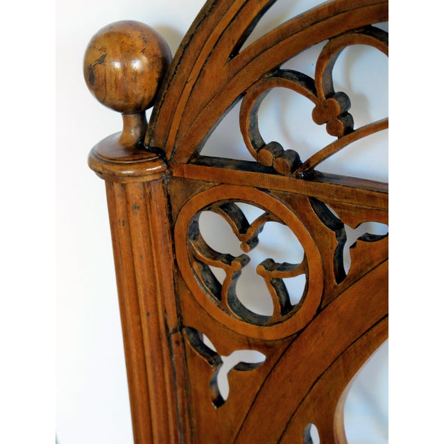 A handsome and well-carved set of 4 continental gothic revival klismos-form walnut side chairs; possibly Austrian or German For Sale In San Francisco - Image 6 of 8