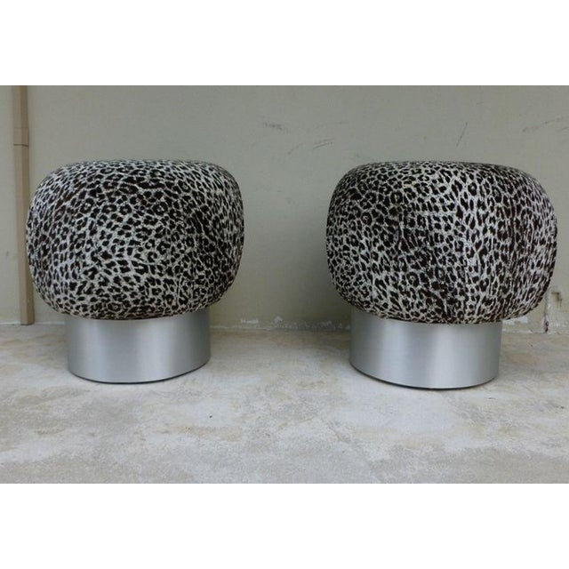 Aluminum 1970's Karl Springer Style Leopard Fabric Souffle Poufs- A Pair For Sale - Image 7 of 7