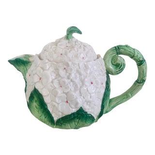 1980s Vintage Hydrangea Teapot For Sale
