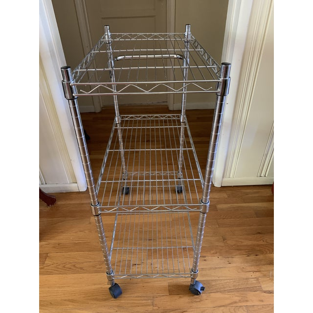 Contemporary Modern Utilitarian Rolling Shelf Bar Cart For Sale - Image 3 of 13