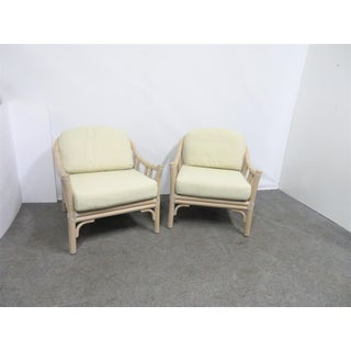 McGuire Rattan & Leather Lounge Chairs - a Pair Preview