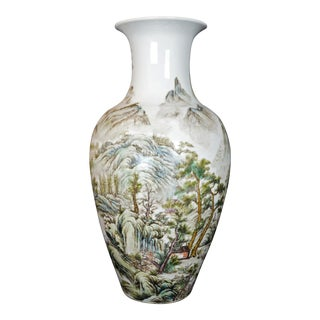 Chinese Republic Polychrome Vase With Landscape For Sale