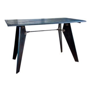 """Artisan Made Jean Prouve Style Solvay Em Dining Utility Table - Blue Black 49"""" For Sale"""