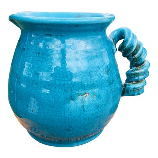 Oversized French Country Blue Pottery Pitcher For Sale