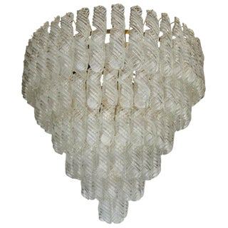 Fantastic Venini Spiral Glass Chandelier For Sale