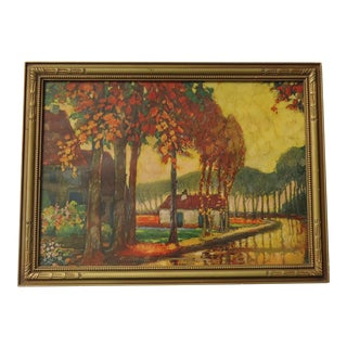 1930s Arts and Crafts Print of Fall Landscape For Sale
