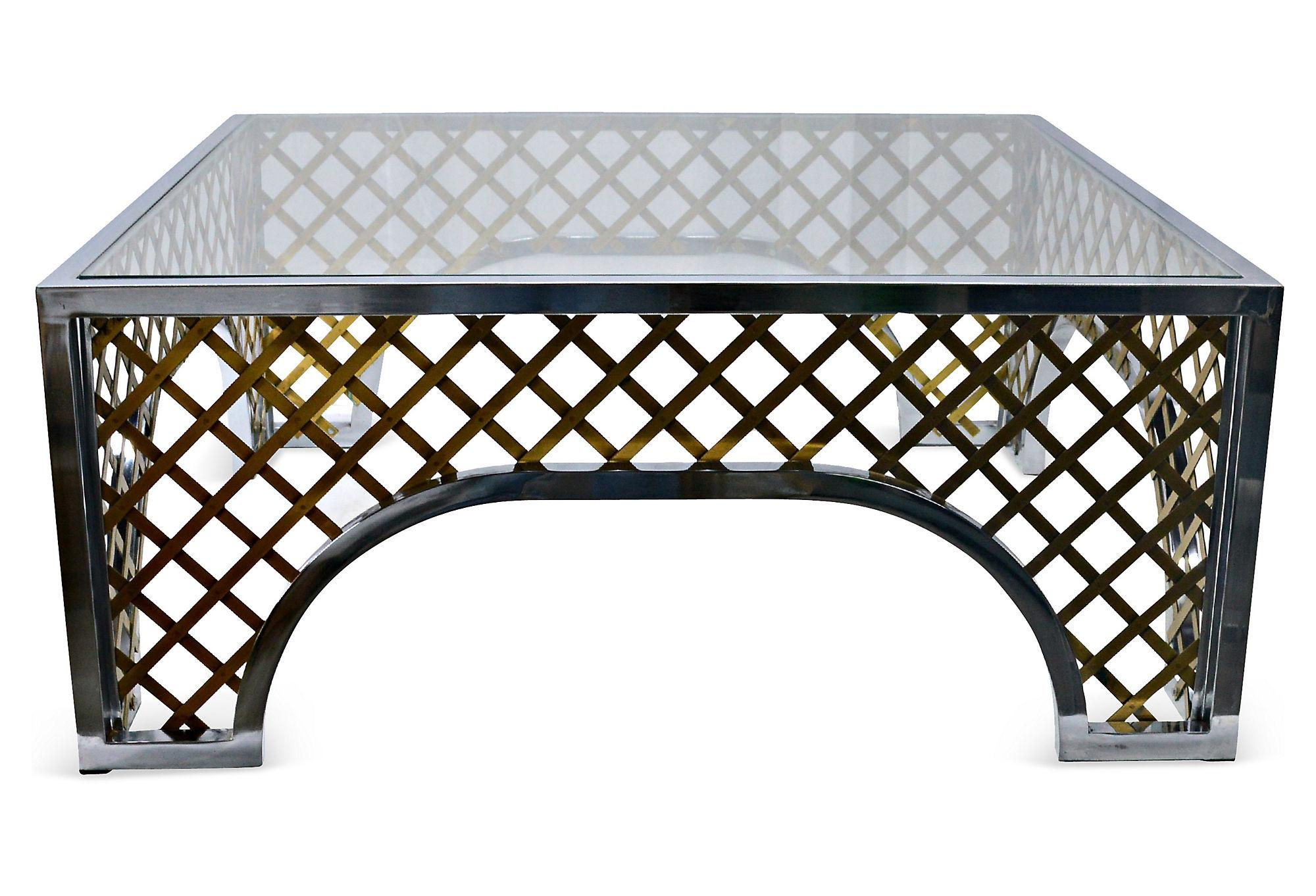 Gold Tone Lattice Motif Coffee Table For Sale