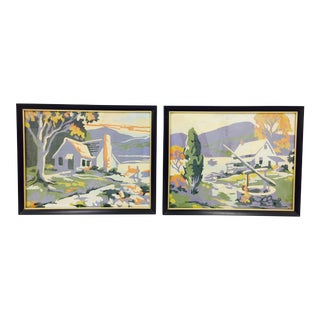 Vintage Number Home-Scapes Paintings - a Pair