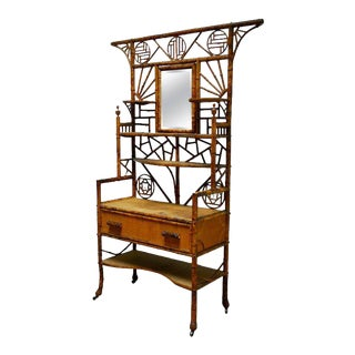 19th Century English Chinoiserie Etagere Dressing Cabinet For Sale