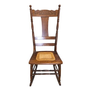 20th Century Cottage Style Cane Seat Rocking Chair For Sale