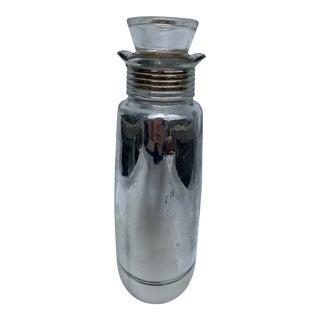 Vintage 1957 Seagrams Silver Glass Decanter Liquor Bottle For Sale