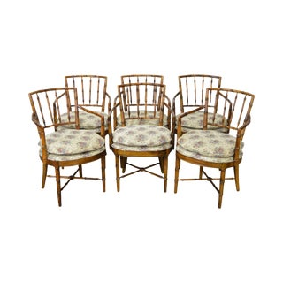 Faux Bamboo Set f 6 Custom Dining Arm Chairs