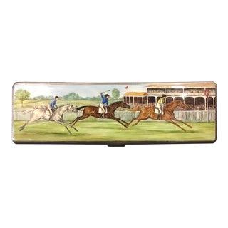 English Sterling Enameled Polo Box, 1936