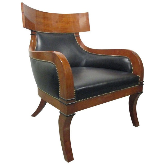 Leather Biedermeier Style Lounge Chair - Image 3 of 8