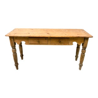 Antique French Pine Console Table For Sale