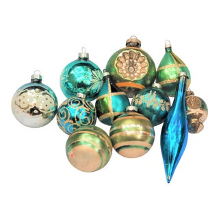 Vintage Blue and Green Glass Ornaments - Set of 11