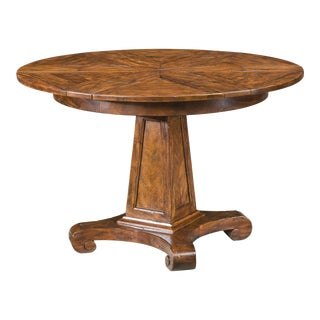 Small Antiqued Circular Extending Dining Table For Sale