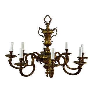 Antique French Louis XVI Gilt Bronze 8 Branch Light Chandelier For Sale