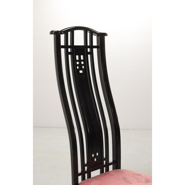 Mid-Century Italian Design Black Lacquered and Pink Fabric Dining Chairs by Giorgetti, 1970s - 1980s. For Sale - Image 10 of 13