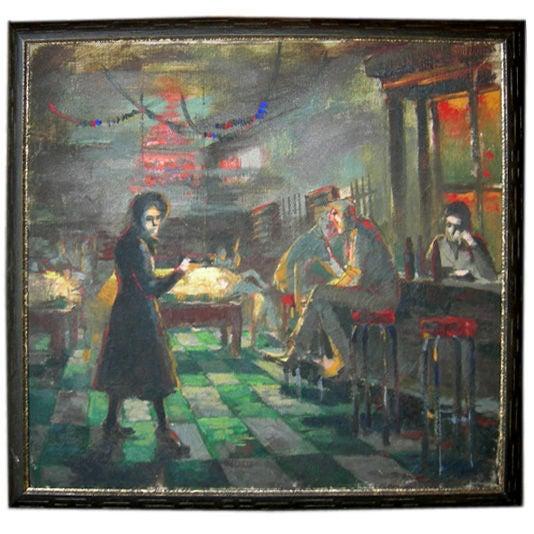 Depression Era Pool Hall Painting - Image 1 of 4