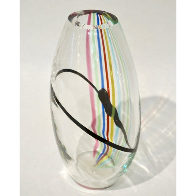 1970s Formia Italian Pop Art Yellow Green Red Blue Crystal Murano Glass Vase For Sale - Image 9 of 10