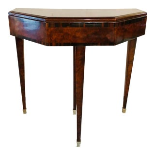 1930s Art Deco Macassar Card Serving Table For Sale