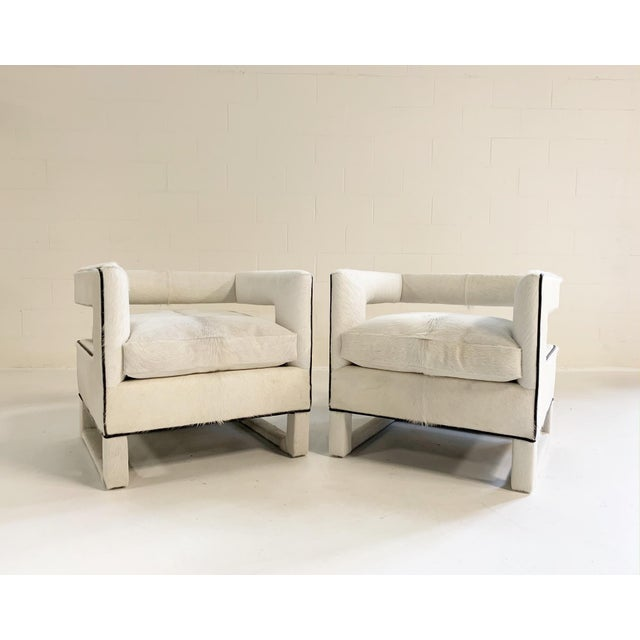 Modern Cube Lounge Chairs in Brazilian Cowhide - A Pair For Sale - Image 3 of 12