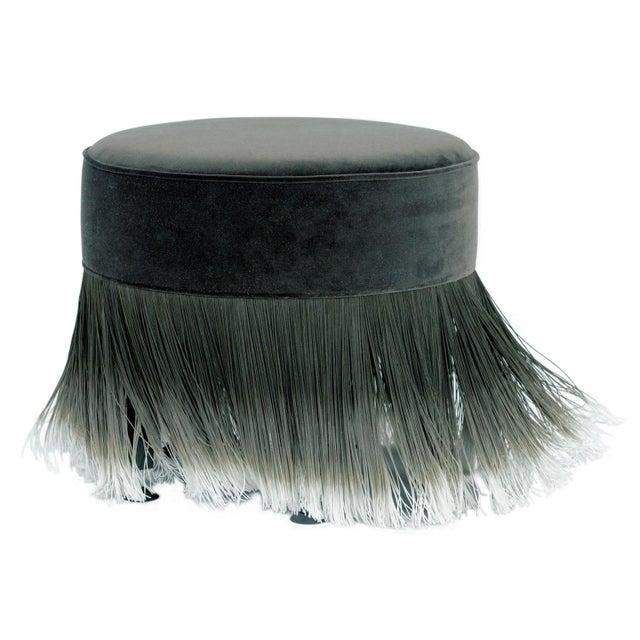 Modern Moooi Dark Gray Velvet Pouf with Fringe For Sale - Image 3 of 5