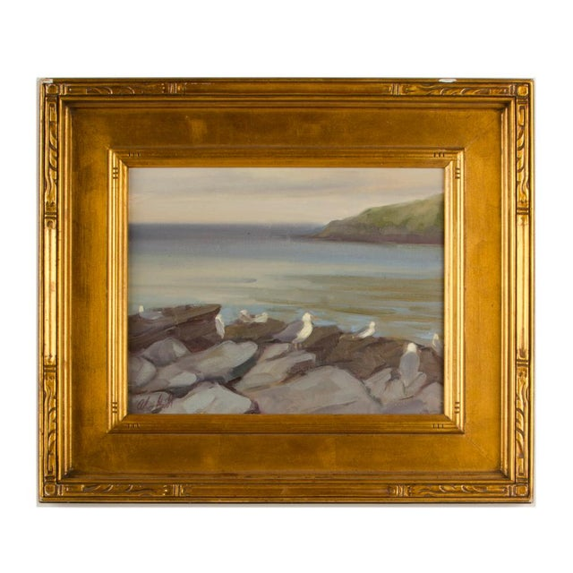 """Late 20th Century """"Seagulls on the Rocks"""" Coastal Oil Painting by Alison Hill, Framed For Sale - Image 9 of 9"""