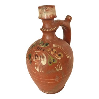 Transylvania Vintage Redware Hand-Painted Folk Art Pottery Carafe, from Romania For Sale