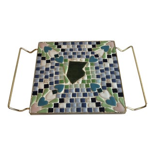 Vintage Blue & Green Mosaic Trivet For Sale