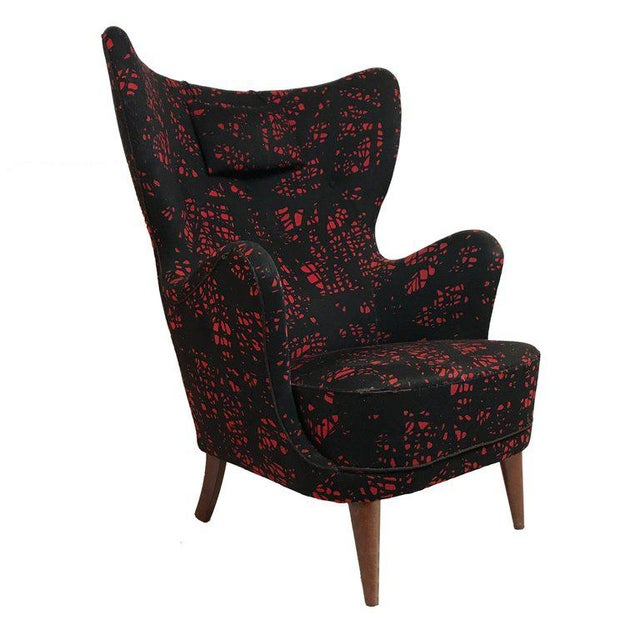 Black Danish Modern Mogens Lassen-Style Black & Red Wool Easy Chair For Sale - Image 8 of 8