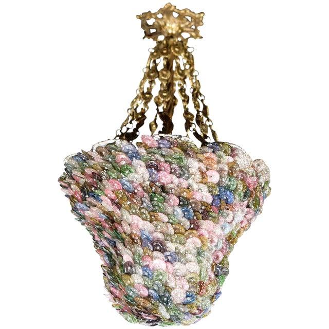 Bell Shaped Art Glass & Brass Chandelier For Sale