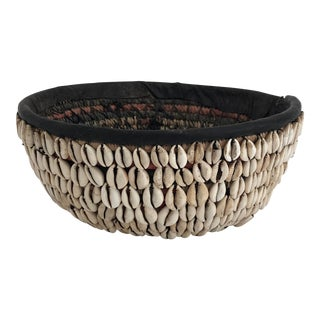 Antique African Cowrie Shell Basket/ Bowl For Sale