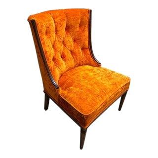 Mid Century Tufted Velvet Orange Chair For Sale