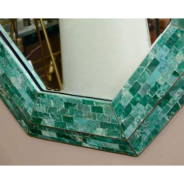 Amazing Octagonal mirror in a frame of tessellated green marble with An Inlaid Bronze Strip Design.