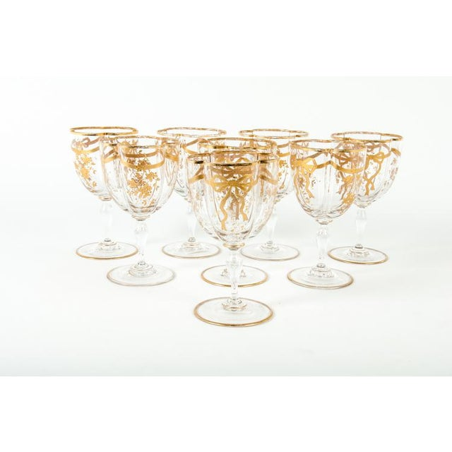 Antique Set French Crystal Wine/ Water Glasses For Sale - Image 4 of 5