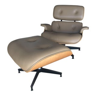 Eames Tan Leather Lounge Chair & Ottoman
