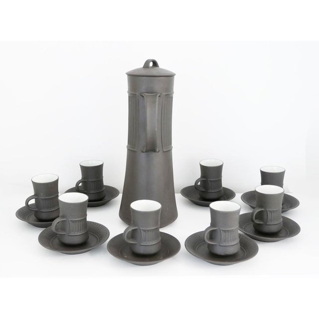 Danish Mid-Century Modern Flamestone/Flameware Brown Fluted with Matte finish coffee set designed by Jens Quistgaard,...