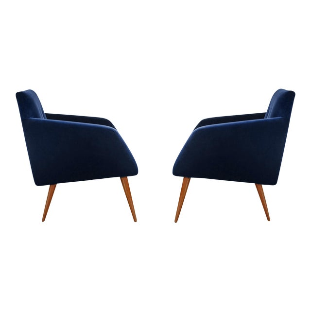 Italian Style Mid-Century Occasional Chairs in Plush Indigo Velvet- a Pair For Sale
